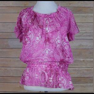 Pink paisley pattern blouse